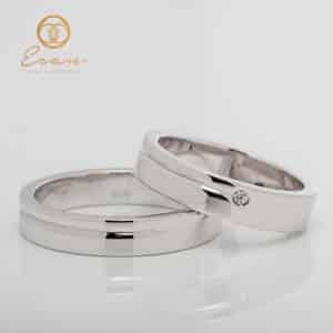 Verighete din aur alb 18k cu diamante ESV140