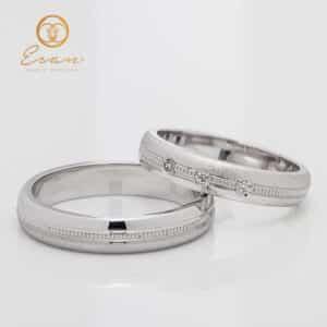 Verighete din aur alb cu diamante ESV136