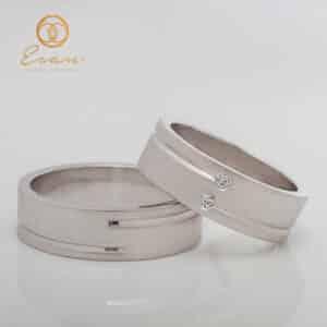 Verighete din aur alb cu diamante ESV138