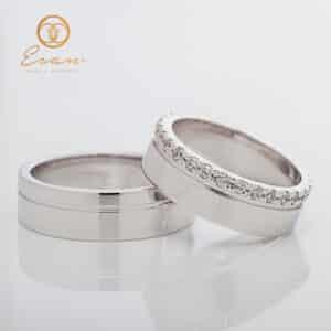 Verighete din aur alb cu diamante ESV141