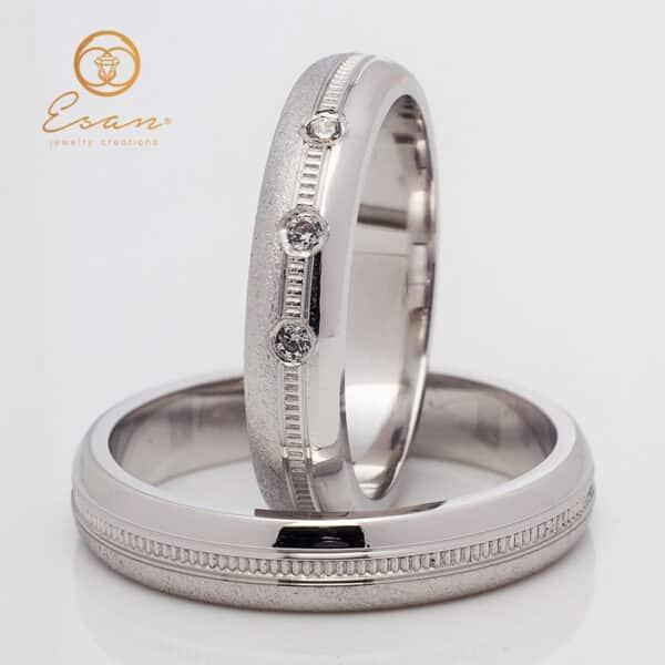 Verighete din aur alb cu diamante naturale ESV136