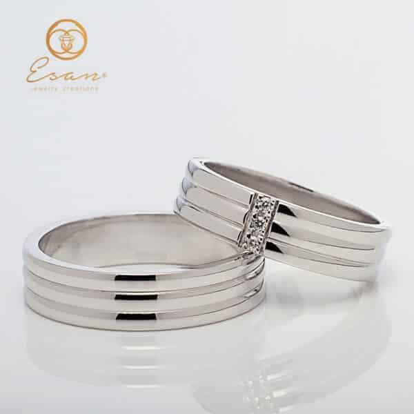 Verighete din aur alb cu trei diamante ESV150