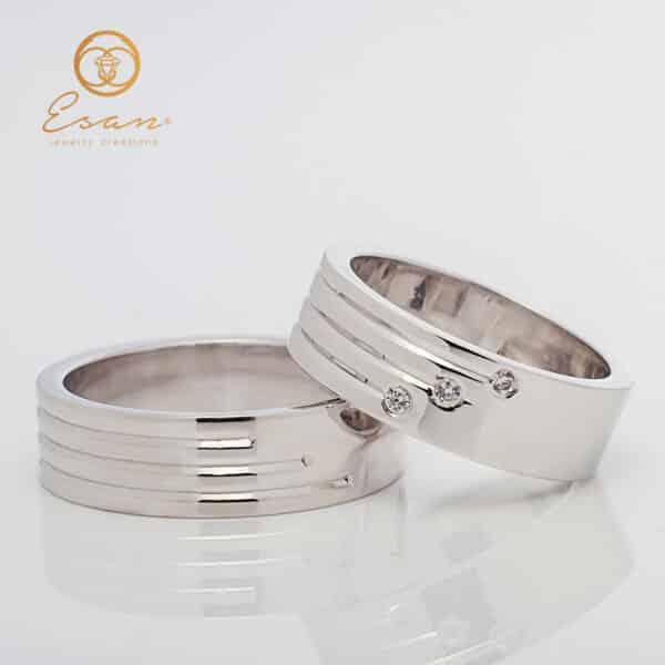Verighete din aur alb cu diamante ESV142