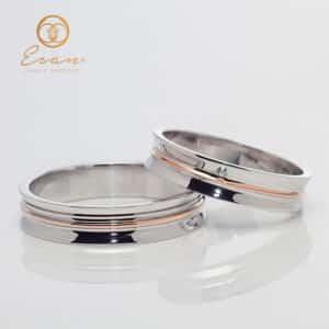 Verighete din aur alb si roz cu diamante ESV147