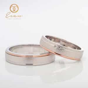 Verighete din aur alb si roz model personalizat ESV143