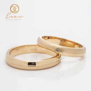 Verighete din aur galben cu finisaj mat si diamante ESV137