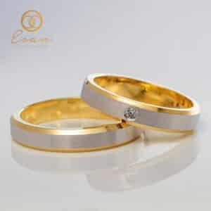 Verighete din aur galben cu diamant 2mm ESV151