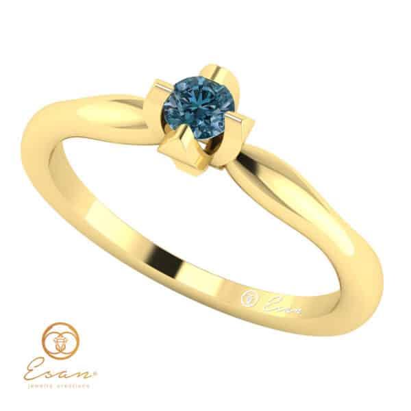 Inel de logodna din aur cu diamant albastru ES10