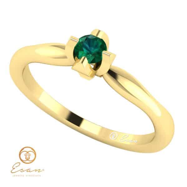 Inel de logodna din aur cu smarald ES10