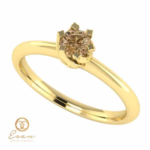 Inel de logodna solitaire cu diamant maro din aur ES1