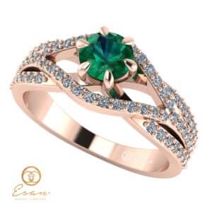 Inel de logodna din aur cu smarald si diamante ES119