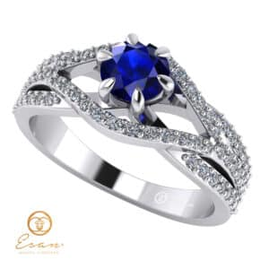 Inel de logodna din aur cu safir si diamante ES119