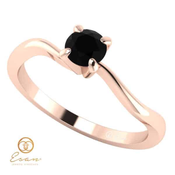 Inel de logodna solitaire cu diamant negru brilliant ESDN11