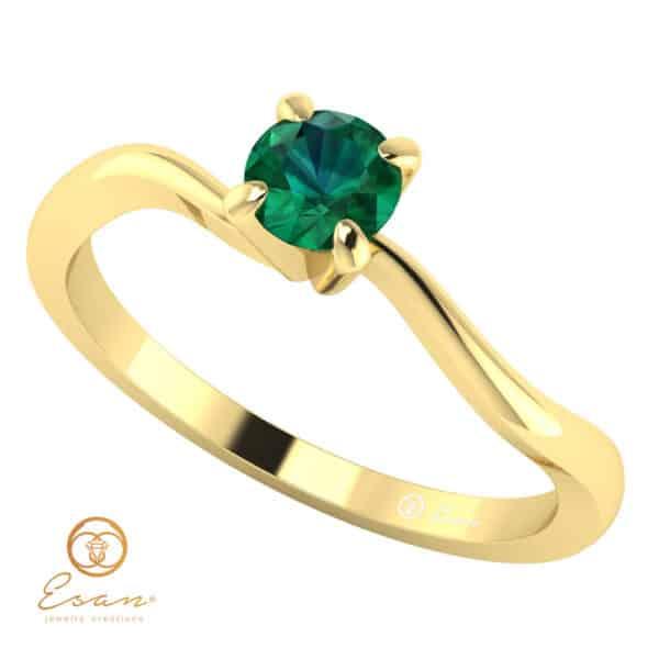 Inel de logodna din aur cu smarald ES11