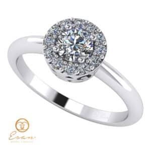 Inel de logodna din aur cu diamante incolore ES121