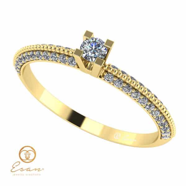Inel de logodna din aur cu diamante incolore ES123