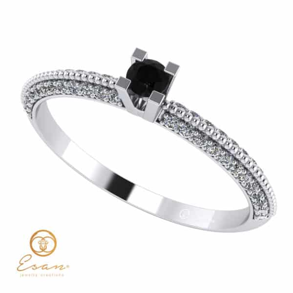 Inel de logodna din aur cu negru si diamante ES123