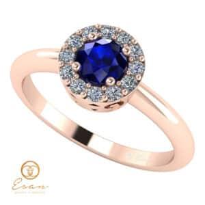 Inel de logodna din aur cu safir si diamante ES121