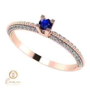 Inel de logodna din aur cu safir si diamante ES123