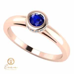 Inel de logodna din aur cu safir si diamante ES122