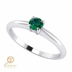 Inel de logodna din aur cu smarald ES12