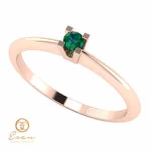 Inel de logodna din aur cu smarald ES13