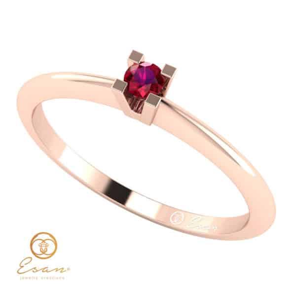 Inel de logodna din aur cu rubin ES13