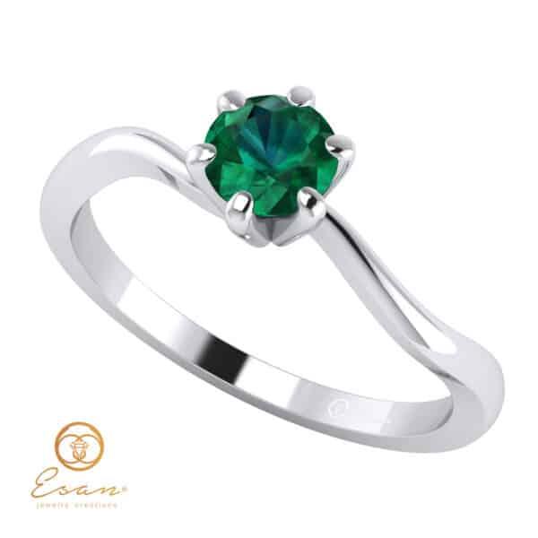 Inel de logodna din aur cu smarald ES2
