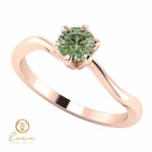 Inel de logodna din aur cu diamant verde ES2
