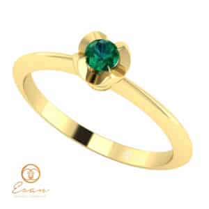 Inel de logodna cu smarald din aur ES3