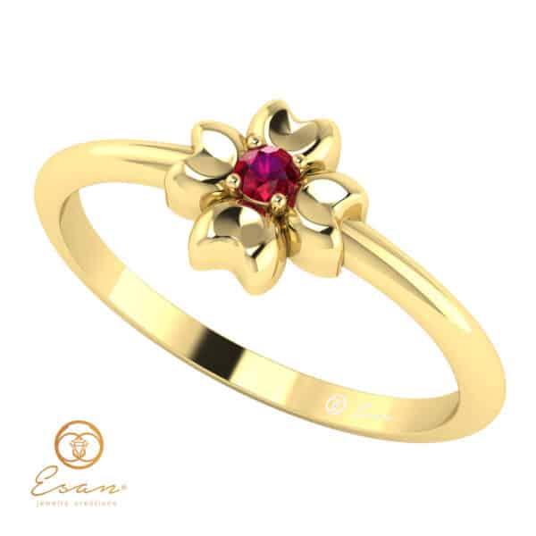Inel de logodna cu rubin din aur ES4