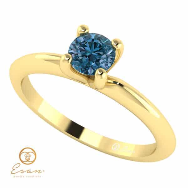 Inel de logodna solitaire cu diamant albastru ES6