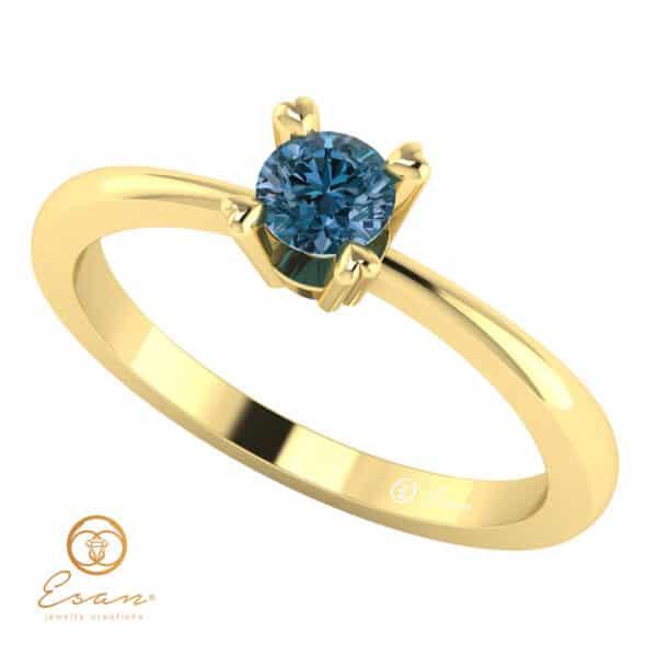 Inel de logodna cu diamant albastru solitaire ES7