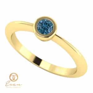 Inel de logodna din aur cu diamant albastru ES8