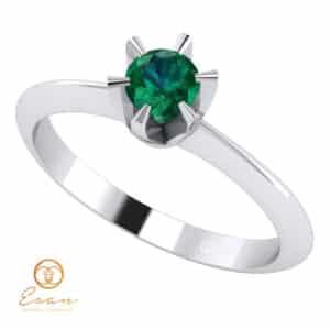 Inel de logodna din aur cu smarald ES9