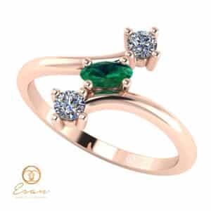 Inel de logodna din aur cu smarald si diamante ES78