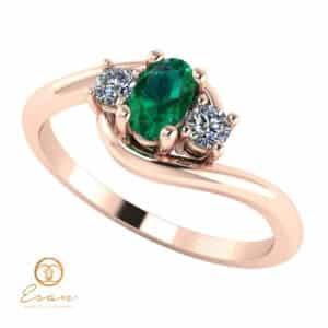 Inel de logodna din aur cu smarald si diamante ES80