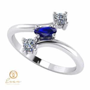 Inel de logodna din aur cu safir si diamante ES78