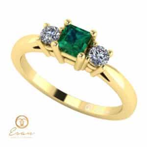 Inel de logodna din aur cu smarald si diamante ES79