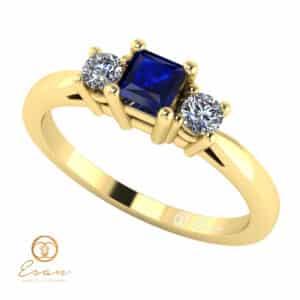 Inel de logodna din aur cu safir si diamante ES79