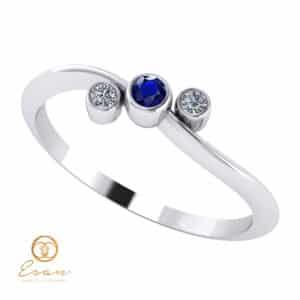 Inel de logodna din aur cu safir si diamante ES81