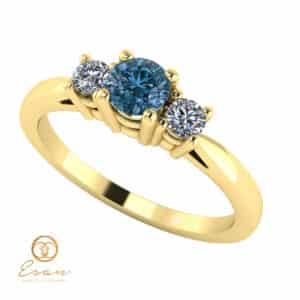 Inel de logodna din aur cu diamant albastru si diamante incolore ES82