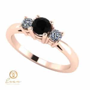 Inel de logodna din aur cu diamant negru si diamante incolore ES82