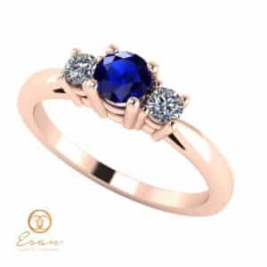 Inel de logodna din aur cu safir si diamante ES82