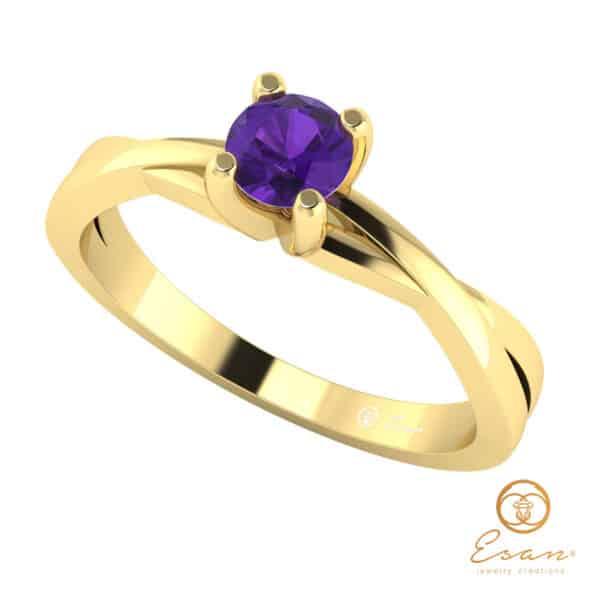Inel de logodna din aur cu ametist ES25