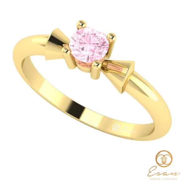 Inel din aur cu diamant roz ES26