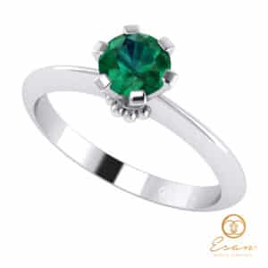 Inel de logodna din aur cu smarald ES27