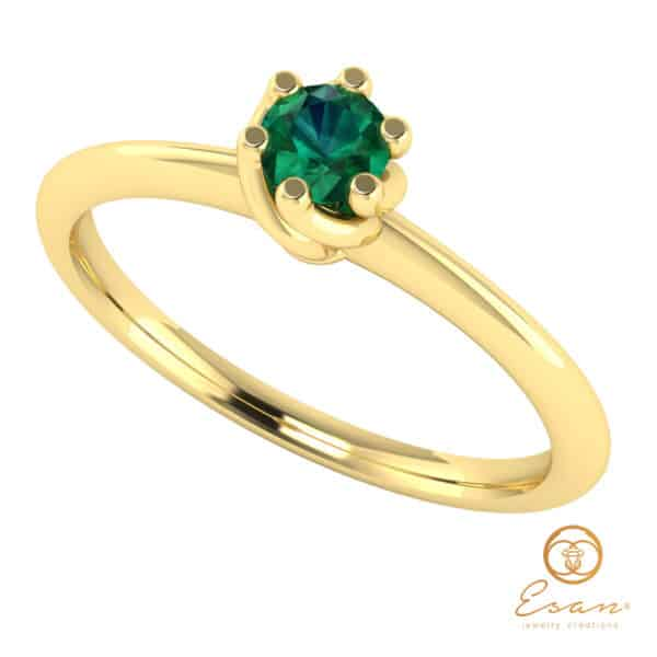 Inel de logodna din aur cu smarald ES28