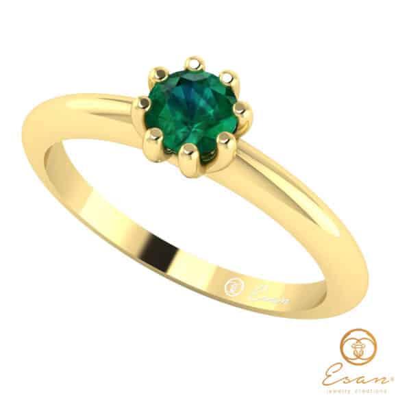 Inel de logodna din aur cu smarald ES30
