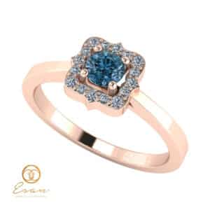 Inel de logodna din aur cu diamant albastru si diamante incolore ES77